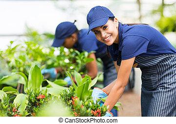 female nursery worker trimming plants