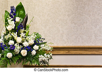 A beautiful white roses floral arrangement with copyspace.