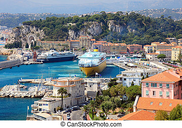Beautiful harbor od Nice with big cruise ships, France, Europe. Cote D'Azur.
