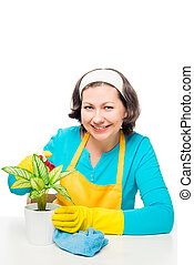 beautiful housewife takes care of a flower in a pot on a white background
