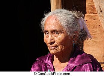 Beautiful Navajo Elderly Woman Outdoors in Bright Sun