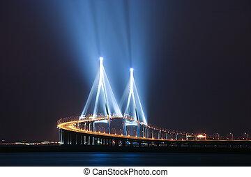 Beautiful night view in South Korea, Songdo, Incheon Bridge