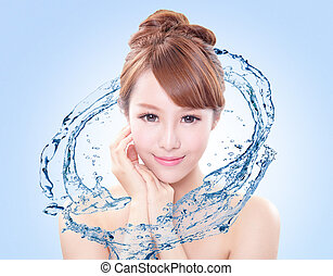 woman with fresh skin in splashes of water