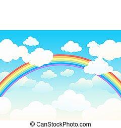Beautiful rainbow cloudscape. Vector illustration.