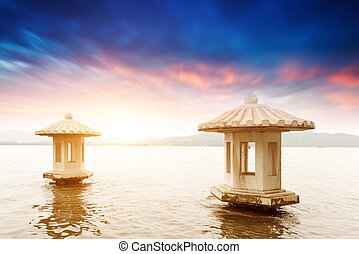 beautiful the west lake scenery, landscape with sunset in hangzh