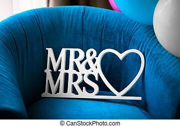 Beautiful wedding Mr and Msr label with heart