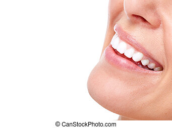 Beautiful woman smile and teeth. Isolated over white background.