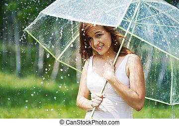 Beautiful woman with umbrella during the rain