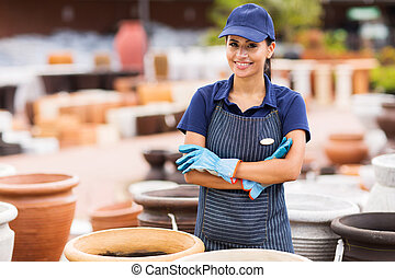 young home and garden store business owner