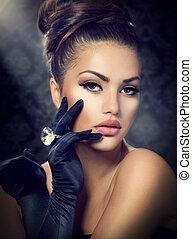 Beauty Fashion Girl Portrait. Vintage Style Girl Wearing Gloves