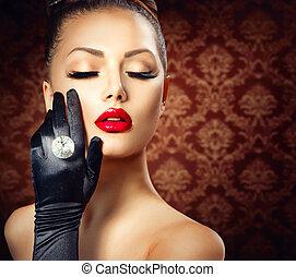 Beauty Fashion Glamour Girl Portrait. Vintage Style
