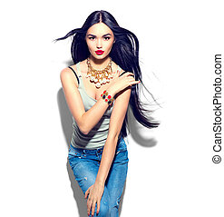 Beauty fashion model girl with long straight flying hair