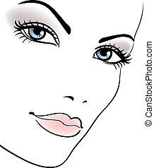 beauty girl face, beautiful woman vector portrait