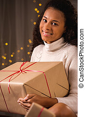 Beauty woman with Christmas gift