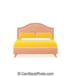Bed icon in flat design. Vector cartoon illustration.