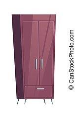 Bedroom furniture, wardrobe room interior cartoon