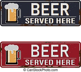 beer vintage rusty metal sign on a white background, vector illustration