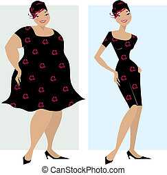 Vector illustration of dieting woman