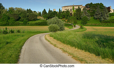 Bending road leading to a castle
