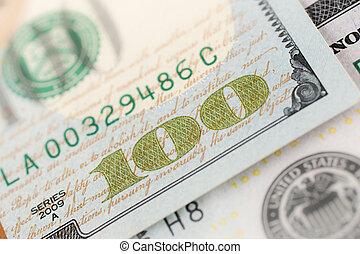Benjamin Franklin on hundred dollars banknote.