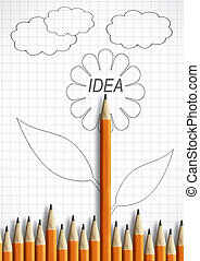 best idea creativity concept, pencil with leaves as flower
