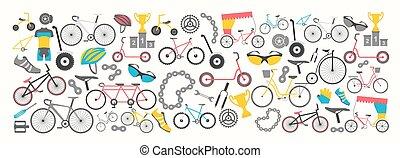Bicycle banner graphic design. Bike types. Vector illustration flat design