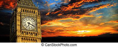 Big Ben at sunset panorama, London