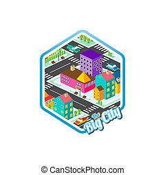 big city isometric real estate realty cartoon logo template