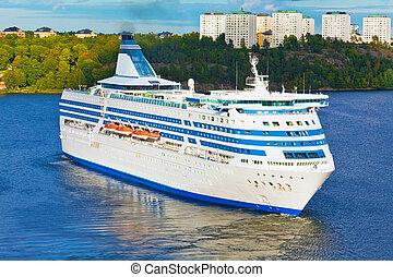 Big cruise liner in harbor of Stockholm, Sweden