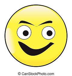 Big Eyes Smile Face Button Emoticon