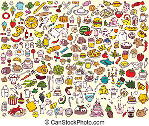 Big Food and Kitchen Collection of fine small hand drawn illustrations. Individual icons are grouped only in vector version. Illustration is in eps8 vector mode!