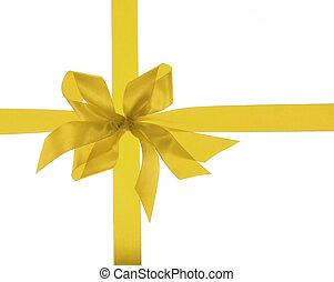 big gold holiday ribbon bow on white background