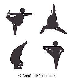 Big guys in pose practicing yoga