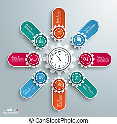 Big Machine Gears Banners Clock