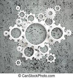 Big Machine White Gears Concrete