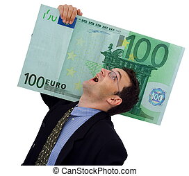 Happy businessman carrying a big hundred euro