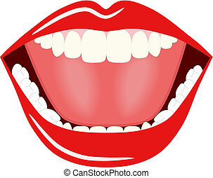 Vector illustration of a big open wide mouth.