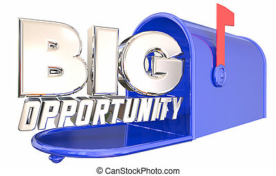 Big Opportunity Mailbox Chance Offer Proposal Delivery 3d Illustration