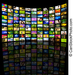 Big Panel of TV showing Nature, Lifestyle, Travel, Urban and Transportation movies. All images belongs to me.