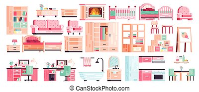 Big set kit collection vector isolated icons of furniture for bathroom interior, kitchen, office, bedroom, gaming, fireplace with sofa and armchair