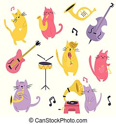 Big set of funny cats playing musical instruments