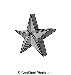Big star icon, black monochrome style