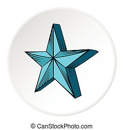 Big star icon, cartoon style