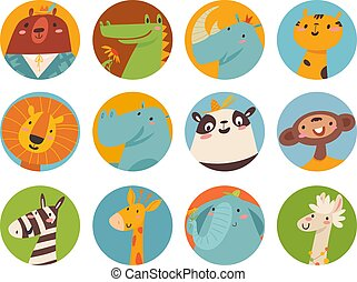 Big vector set of cute cartoon animals faces in flat style