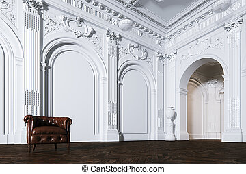 Big white classic interior museum hall with vintage leather armchair 3d render