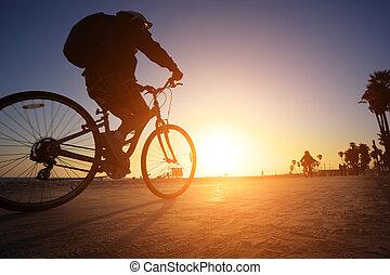 Biker silhouette riding along beach at sunset