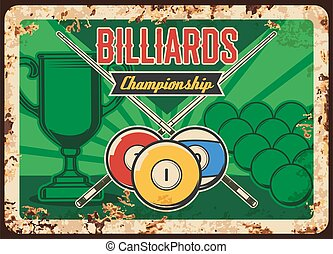 Billiard championship rusty metal plate with balls