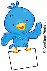 A Little Blue Bird Flying While Clutching a Sheet of Paper With its Feet