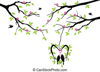 birds on tree in heart nest, vector