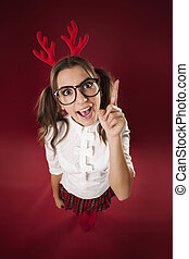 Bizarre nerdy woman with hand sign